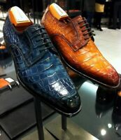 Chaussures à lacets Oxford en cuir véritable imprimé crocodile pour hommes