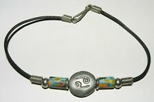 Yin and Yang Anklet Multi Color Ceramic Leather Ankle Bracelet Jewelry 9.5