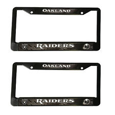 "2 Football Oakland Raiders Black Plastic License Plate Frame 12.5"" x 6.5"""