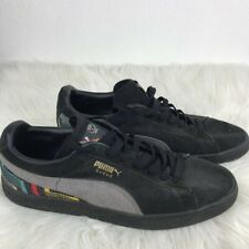 Puma Mens Sneakers Black Gray Suede Lace Up Low Athletic Casual Soccer Shoe 12