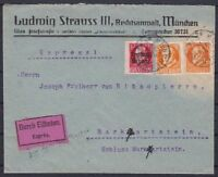 Bavaria Mi No. 155 A, 99 A Mif Courier Letter L1 From Briefkastten, Munich 1920