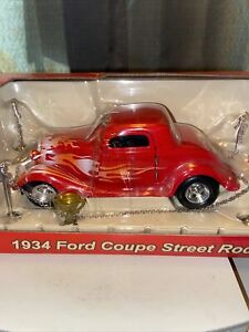 CROWN PREMIUM 1934 red FORD COUPE STREET ROD DIECAST 1/24th  NEW IN BOX🤩