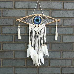 Protection Dream Catcher - Small Macrame Evil Eye Assorted Colours Wall Hanging