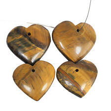 4 Pcs Natural Tiger Eye Heart 27.5mm-31mm Top Quality Drilled Cabochon Gemstones