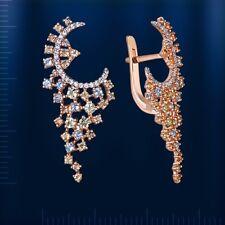 Russian solid rose gold 585/14k dangle gemstone earrings peridot citrine topaz