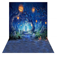 Andoer 1.5 x 2m Halloween Backdrop Horror Night Pumpkin Lamps Tombstone Kids