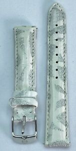 Michele 16mm Watch Band White Silver Glitter Genuine Leather Authentic USA Made