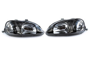 GENUINE HONDA STANLEY CIVIC EK9 JDM TYPE-R SMOKED HEADLIGHTS PAIR - BRAND NEW