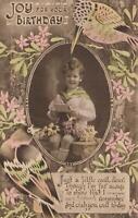 1936 VINTAGE AUSTRALIAN BIRTHDAY CARD SAILOR BOY KOOKABURRA POSTCARD - USED