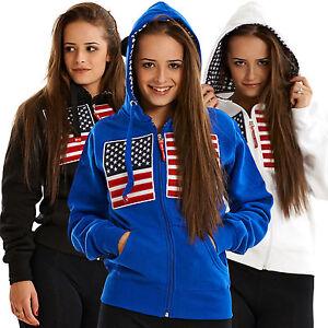 LADIES AMERICAN FLAG USA STAR STRIPE PATCH  ZIP JACKET SWEATSHIRT HOODY TOP