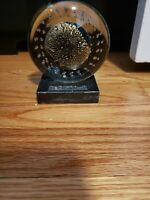 """Large 5"""" Signed EICKHOLT 1995 Dichroic Glass Paperweight On Marble Stand"""
