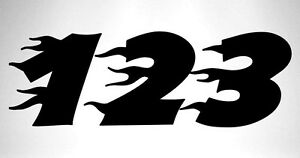 3 x Race Numbers Vinyl Stickers Decals Dirt Bike Motocross Trials Kart - S2