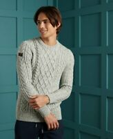 Superdry Cable crew jumper Lambs Wool Warm Concrete Twist  Grey Ship Worldwide