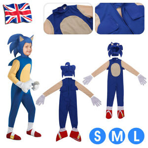 Kids Boys Sonic The Hedgehog Jumpsuit Cosplay Costume Fancy Dress Party Outfit A