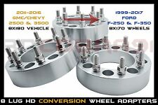 4 PC ALUMINUM CONVERSION ADAPTERS 8X180 TO 8X170 WHEELS FOR TRUCKS ONLY