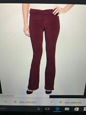 NWT NYDJ Not Your Daughters Jeans FARRAH FLARE Poinsettia Red Velveteen Size 14