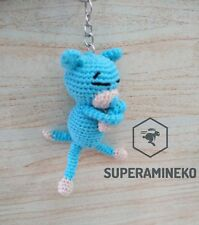 "HAND MADE Amigurumi Cat Amineko Blue Keychain Crochet Toy 3.5"" Cotton"