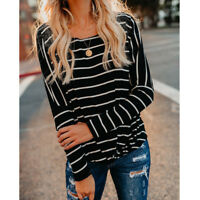 Lady Loose Casual T-Shirt Women's Long Sleeve Stripe Tops Blouse Striped T-Shirt