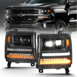 Anzo 111420 LED Projector Headlight w/Plank Style For 16-18 Silverado 1500 NEW
