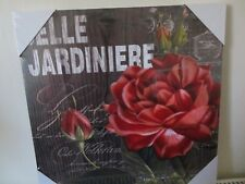 New Belle Jardiniere Red Rose Blossom+3 Rose Buds With Foliage Canvas 40 x 40 cm