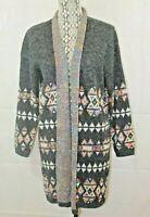Dreamers Womens XL Long Cardigan Aztec Southwestern Sweater Sz XL
