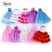 5PCS Handmade Wedding Party Gown Dresses Clothes for Doll Random Color/Style