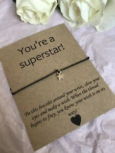⭐️ You're A Superstar friendship Wish bracelet/anklet Well Done Gift Quote ⭐️