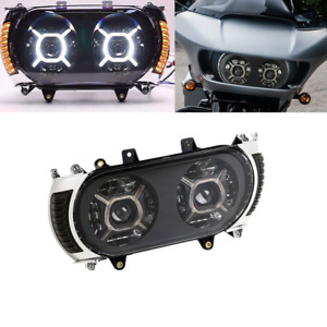 Dual LED Headlight & Side Marker Turn Signal Fit For Harley Road Glide 2015-2019