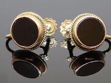 Pair of Vintage 0.14 CT Black Onyx 9K Rose Gold Non-Pierced Earrings, 2.5g