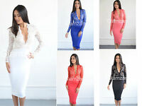 New womens ladies plunge lace long sleeve midi Low V pencil party bodycon dress
