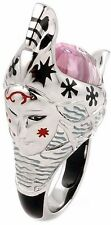 ALAN K. EXQUISITE COLLECTION FACETED PINK MURANO GLASS GONDOLA SHAPE SILVER RING
