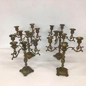 Set Of 4 Ornately Decorated Brass Candelabras #404