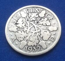 1932 KING GEORGE V SILVER SIXPENCE COIN