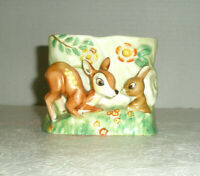 Vintage NAPCO Figural Planter Bambi Thumper in Field of Flowers S1545C