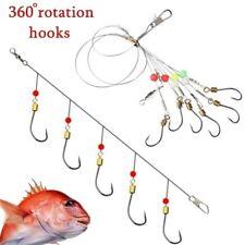 10pcs Swivel Fishing Tackle Lures Bait Fishhooks Carbon Steel String 5 Hook Rigs