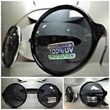 a2515a0f9b2 VINTAGE RETRO 60 s CYBER SUN GLASSES Unique Flexible Round Black   Silver  Frame