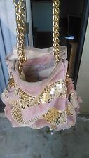 Juicy Courture Sequin Pink/ Gold Stripe Chained Purse with Attached Purse
