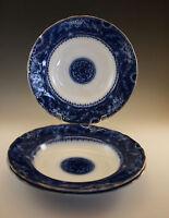 ANTIQUE ARTHUR J WILKINSON MIKADO PATTERN FLOW BLUE 3 RIMMED SOUP BOWLS