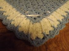 Handmade NEW crochet baby blanket Blue White Afghan lots of shells shawl square