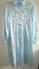 Ladies Silk & Satin House Size Small Night Gown Nightdress Baby Blue Long Sleeve
