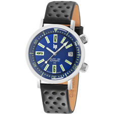 LIP Watch 671501 Men Nautic Ski Date Rotating Bezel Auto Leather Made in France