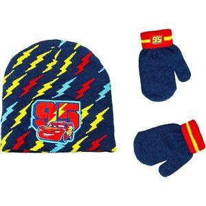 DISNEY CARS 3 LIGHTNING McQUEEN Boys Knit Winter Beanie Hat & Mitten Set NWT $20