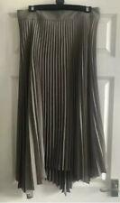 Zara Asymmetric Pleated Skirt Midi Long Brown Taupe Accordion RRP £60 S XL