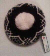 Black And White Unisex Hat-Fluffy White Pom Pom At Top-One Size-Stylish