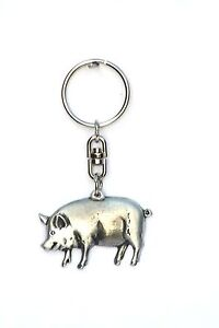 Pig  Pewter Keyring farming present in Gift in Pouch (WC) 272