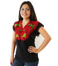 Handmade Womens Embroidered Mexican Blouse Sizes Medium Large XL Blusa Mexicana