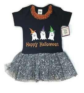 NWT Halloween Diaper Shirt TuTu Dress 1 pc Outfit Costume Ghost Baby Ganz Infant