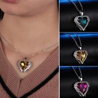 studded Colgante de corazon de cristal Alas de Angel Collar 925 plata