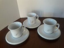 "VINTAGE ACF ESPRESSO CUPS AND SAUCERS SET OF 3 LETTER ""H"" MADE IN ITALY"
