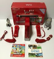 Nintendo Wii Bundle Red Console w/ Super Mario Bros. /Wii Sports + Controllers